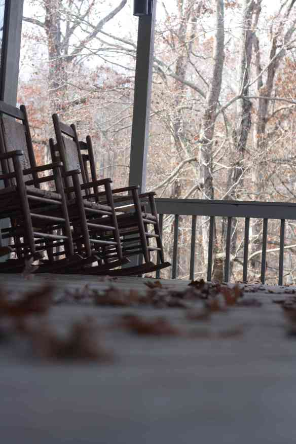 "These rocking chairs on the deck weren't used too often once the ""arcitc blast"" hit on Wednesday. They still looked inviting. Photo by Frankie Fachilla"